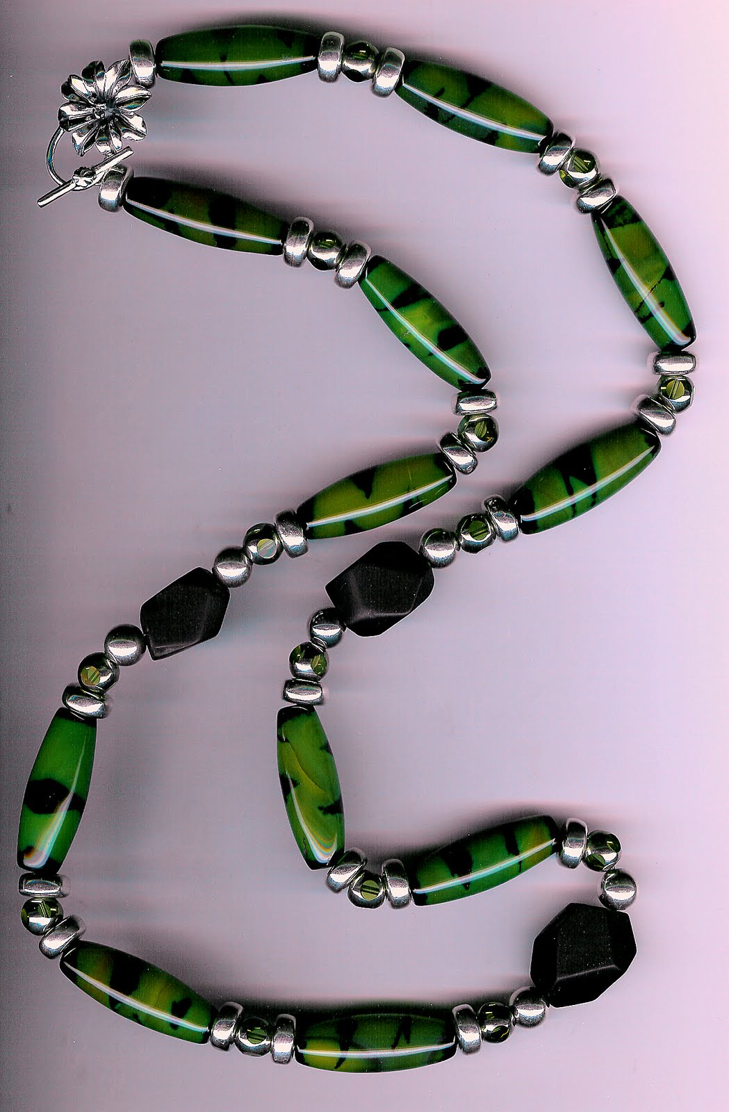 193. Green Agate, Matte Onyx, Olive Crystals with Bali Sterling Silver