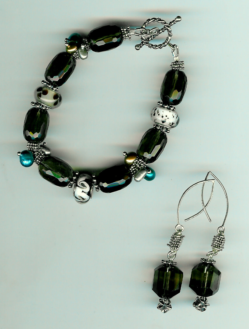 201. Smokey Topaz Bracelet with large Glass beads and Freshwater Pearls + Earrings
