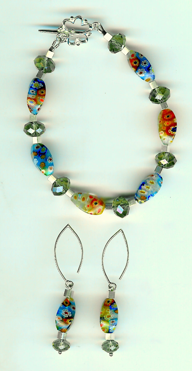 207. Millifoire glass, Crystal, and Bali Sterling Silver + Earrings