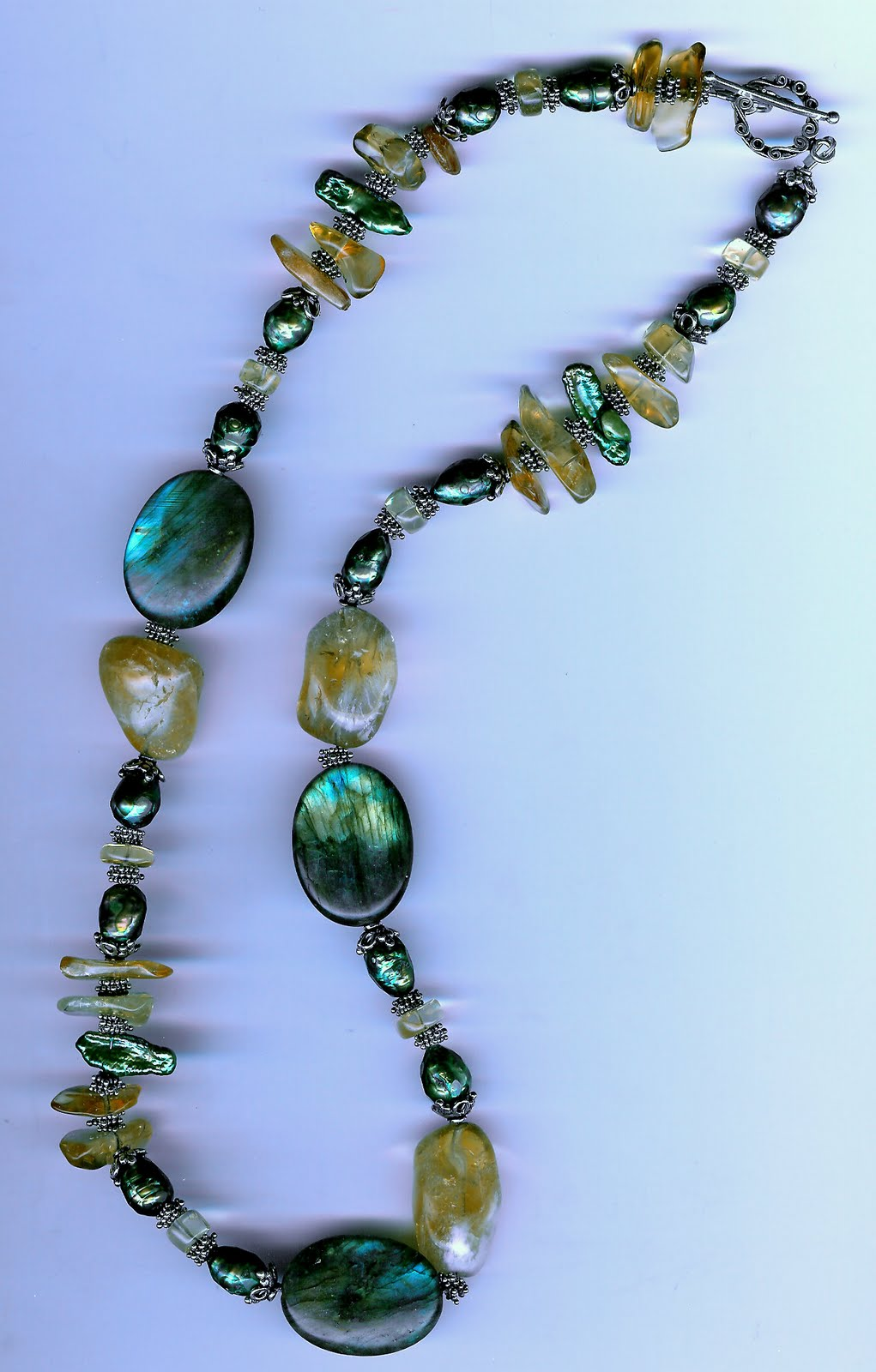 39. Labradorite, Citrine with faceted Freshwater and BIWA Pearls with Bali Sterling Silver