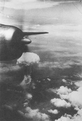 mushroom cloud resulting from the atomic bombing of Hiroshima