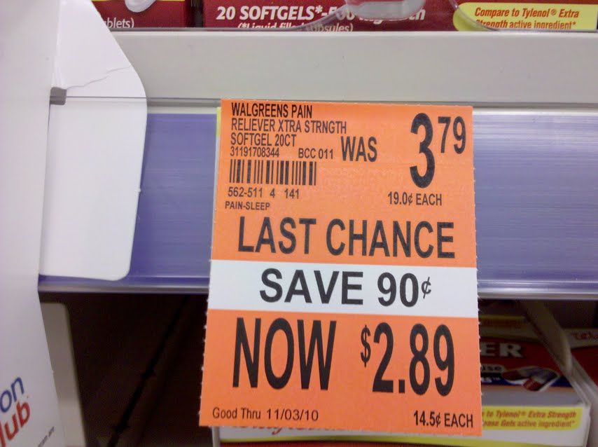 this is a tag that means the product is reduced to its lowest price to get rid of it this means there is no room for this product anymore and you can - Walgreens Garden City