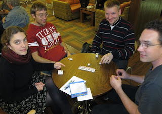 Attendees at the Imagination Gaming event at Sheffield University playing Sushizock im Gockelwok