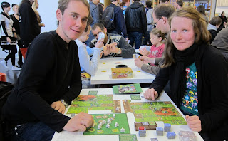 Essen Spiel 2010 - Day 3 Lisa & Sebastian playing Zooloretto