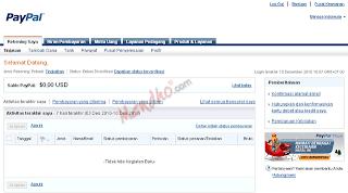 Halaman rekening akun PayPal - Image by MeNDHo.com