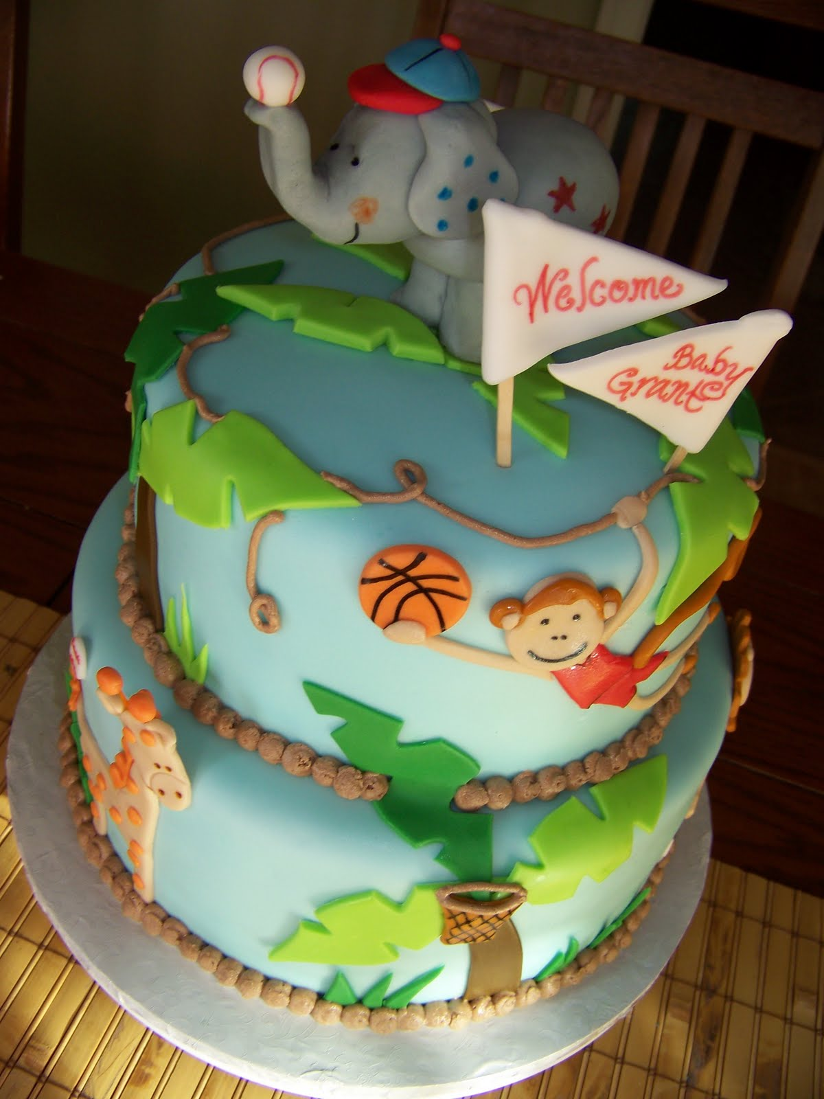 Jungle Sports Baby Shower Cake