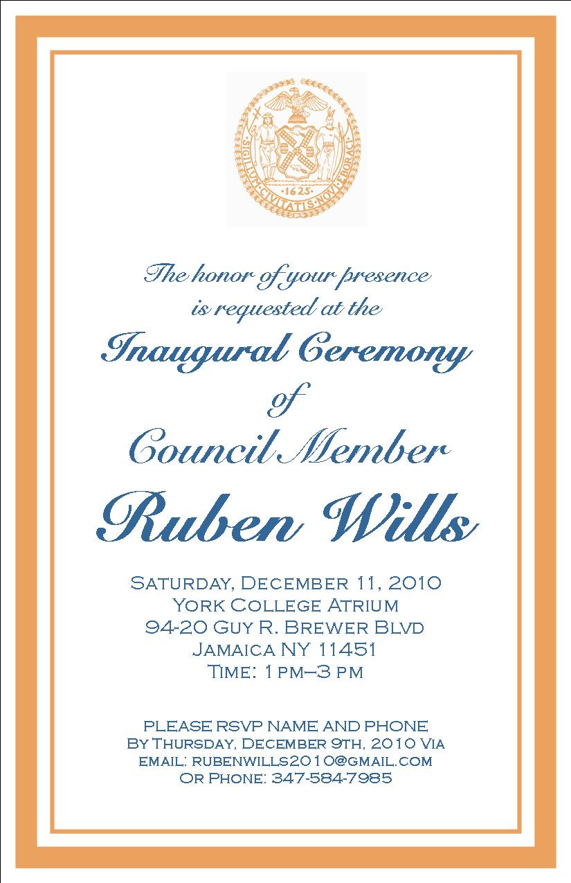 Lost in the ozone invitation inauguration of council member invitation inauguration of council member ruben wills to the nyc council on saturday december 11th at york college 1pm stopboris Choice Image