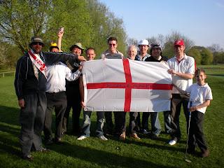 The England Players hold the England Flag Aloft