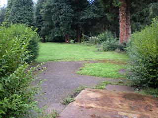 Where the hut once stood at the derelict ghost Minigolf course at Pontypool Park / Parc Pont-y-pŵl