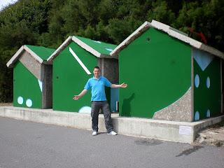 The '18 Holes' Crazy Golf Beach Huts Artwork Installation made by Richard Wilson on Folkestone