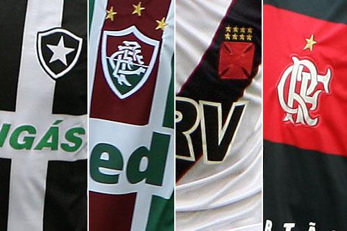 Camisas com os escudos dos 4 maiores times do Rio de Janeiro. Na ordem   Botafogo 60f882d361939