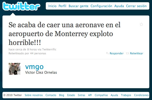 Ciberperiodismo: Informan primero en Twitter sobre caída ...
