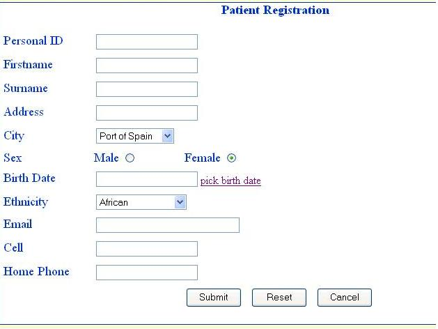 Appointment Scheduling System Project: Patient Registration Form