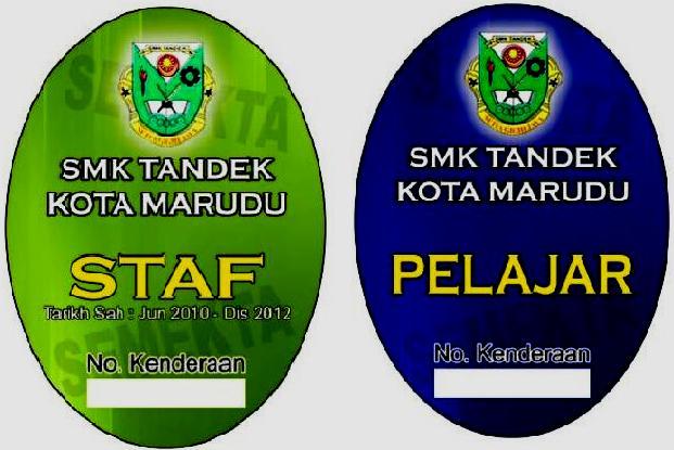 Sample Stiker Kenderaan SMK Tandek Tahun 2010-1012
