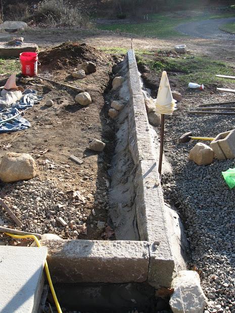 antique granite curb installation
