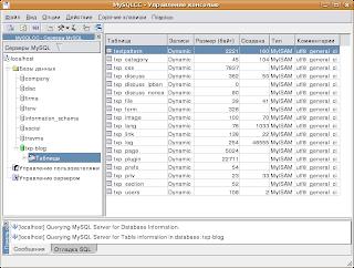MySQL Control Center - Управление консолью