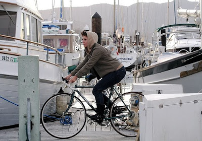 Image of bicyclist in Sausalito