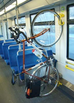 Image of a bicycle on a light rail train in Sacramento