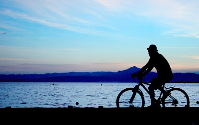 Image of bicyclist riding along shore at sunset