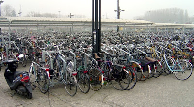 Image of bike parking lot at Brugge, Holland