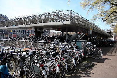 Two-story bike parking facility in Amsterdam
