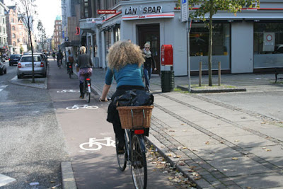 Separated bike lane in Copenhagen