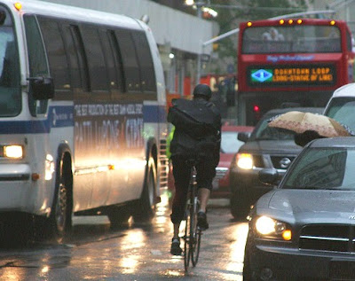 Image of wrong way bicyclist in New York City
