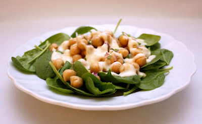 APPLE A DAY: Chickpea and Spinach Salad with Orange-Yogurt Dressing