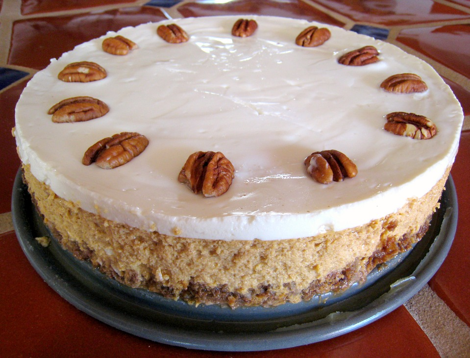 APPLE A DAY: Pumpkin Cheesecake with Bourbon-Sour Cream Topping