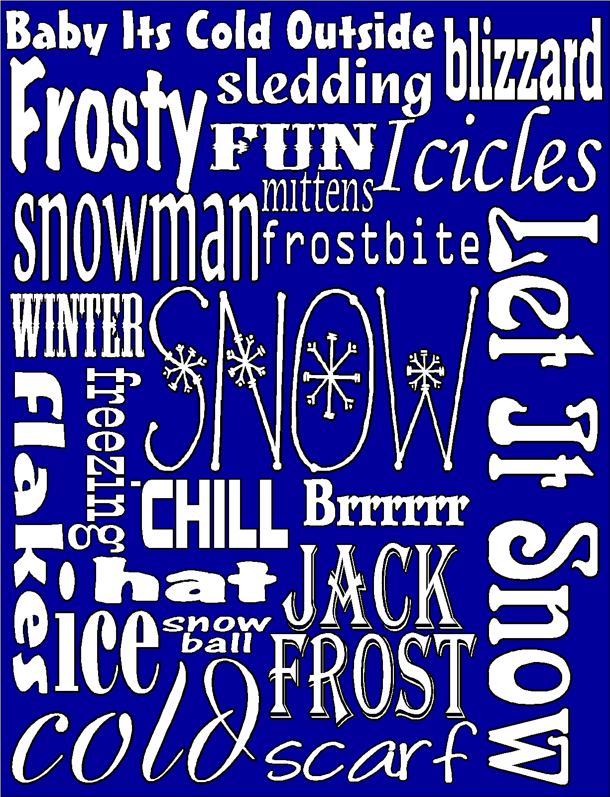 Snow winter subway art free printable everyday parties snow winter subway art free printable pronofoot35fo Image collections