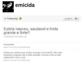 Rapper Emicida comunica o nascimento de sua filha Stela através do Twitter