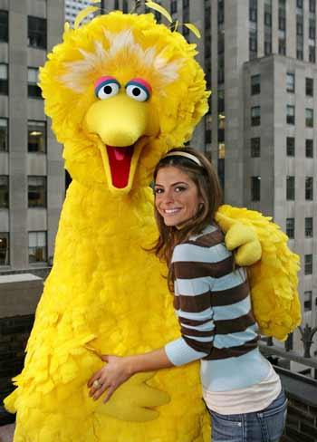 Big Bird hugging MariaMenounos