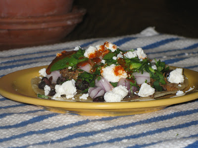 Pork & black bean tostada