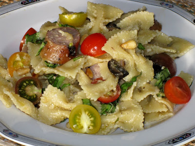 Pasta salad with sweet Italian sausage and heirloom cherry tomatoes