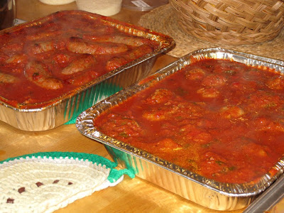 Italian sausages and meatballs