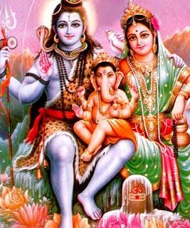 Shiva, Ganesha y Parvathi