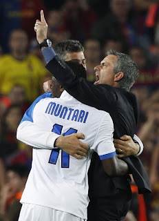 Mourinho vs Barcelona , mourinho celebrating with Muntari