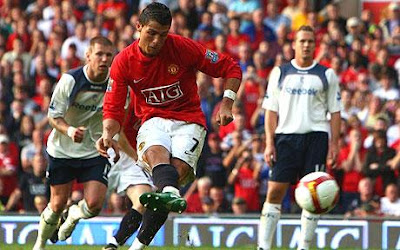 On target: Cristiano Ronaldo opens the scoring at Old Trafford