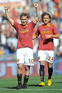 As Roma Vs Calgiari HQ Match Photos , Totti celebrating, Totti celebrating with Roma player