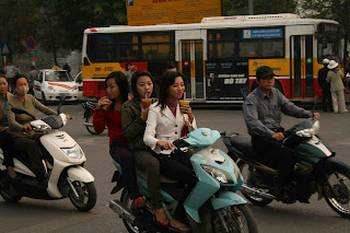 Hanoi Vietnam Motorcyclists Without Helmets Still