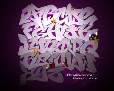3D GRAFFITI Alphabet Letters Purple Style