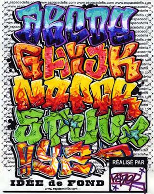 Graffiti Alphabet A To Z. Colorful alphabet graffiti is