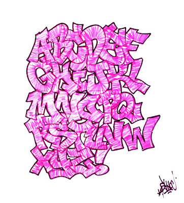 graffiti alphabet b. Graffiti Alphabet Bubble Pink