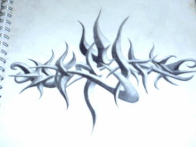 3D Sketch graffiti alphabet tribal flame design. Graffiti sketch on paper