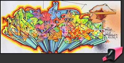Graffiti Art Alphabet on Colorful Paper