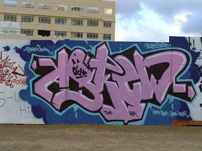 Pink graffiti alphabet Askew