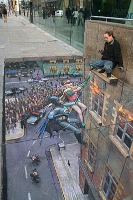 Graffiti art of the cartoon character-themed floors
