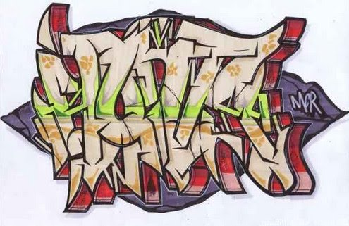 graffiti alphabet. Cool graffiti alphabet by MCR. Different style of street graffiti art