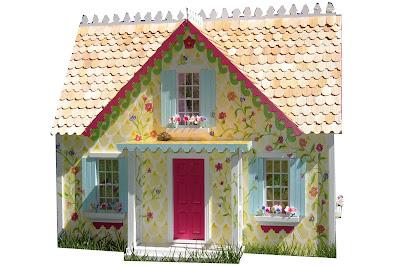 Dancing Rabbit Designs Yellow Cottage Dollhouse
