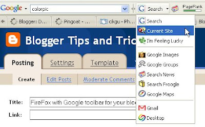 FireFox Google toolbar with built-in search box